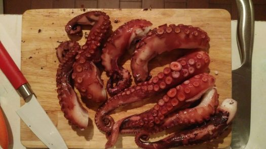 octopus tentacles copped and ready to boil