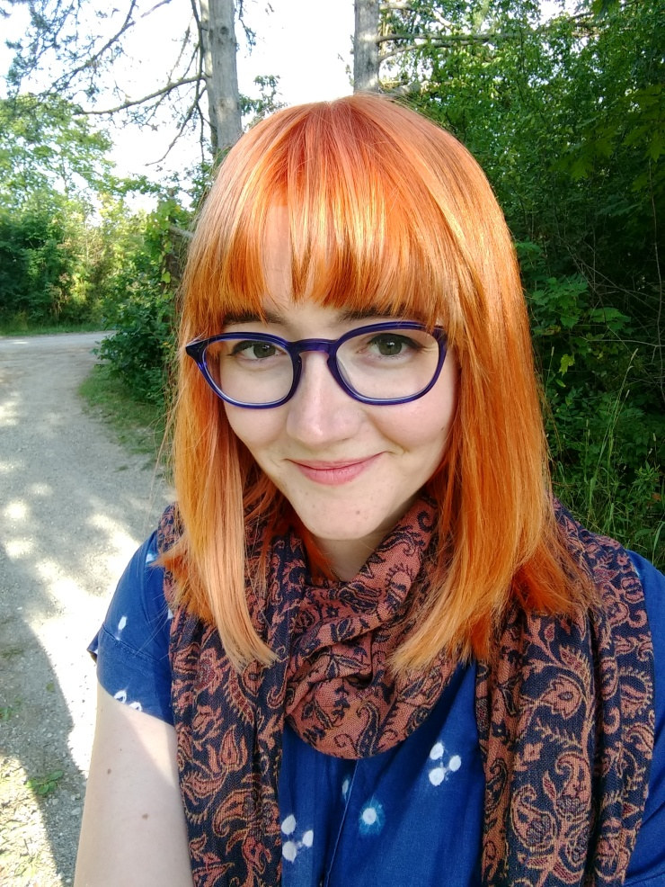 A picture of me with bright orange hair.