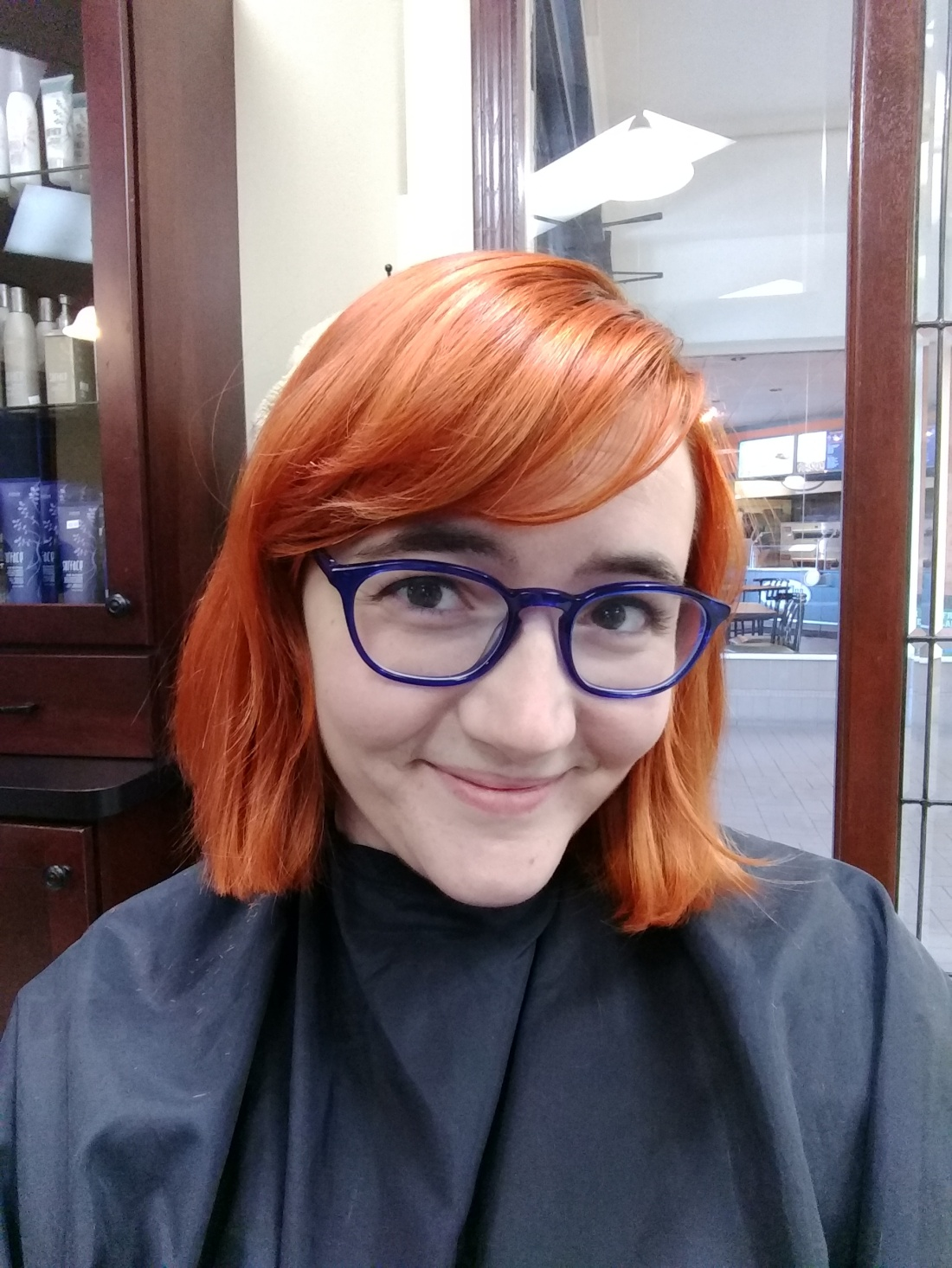 Me with my copper hair right after the rough cut.