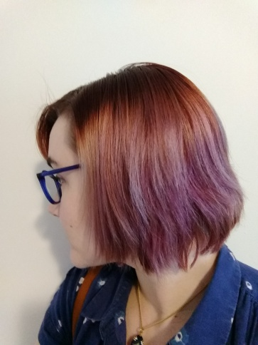 Another side view of my faded purple hair.