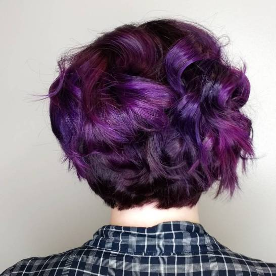 Purple hair from the back
